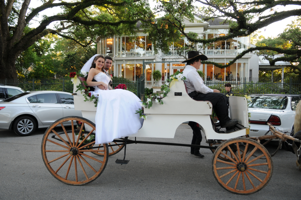 newly wed couple in carriage
