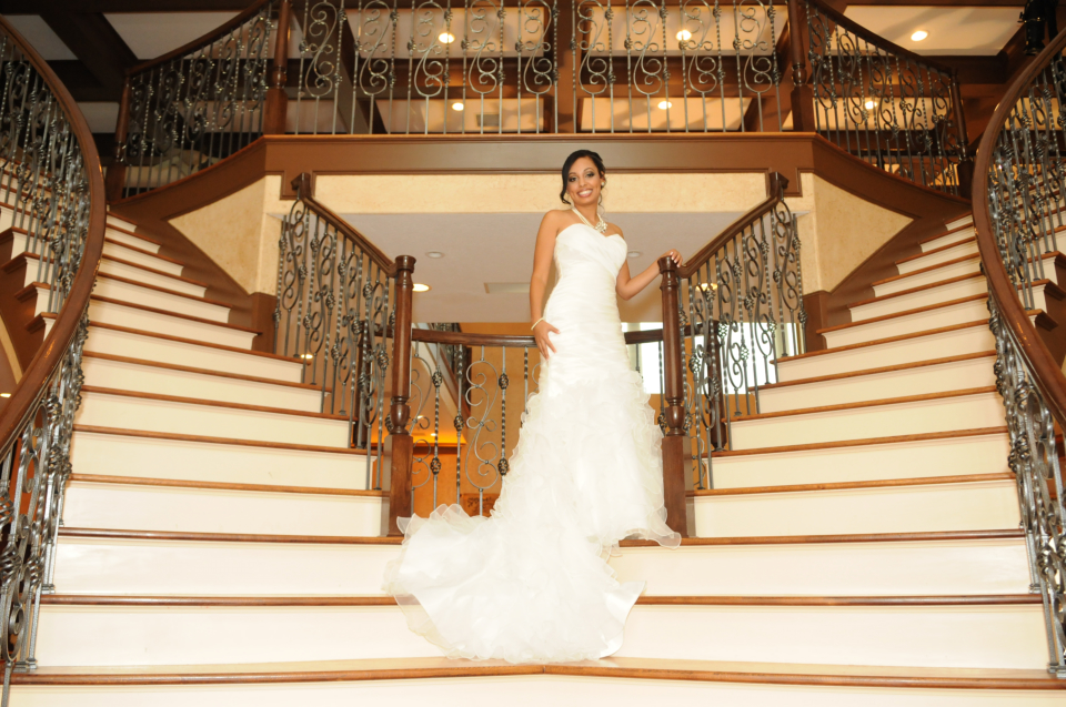 beautiful bride in a staircase