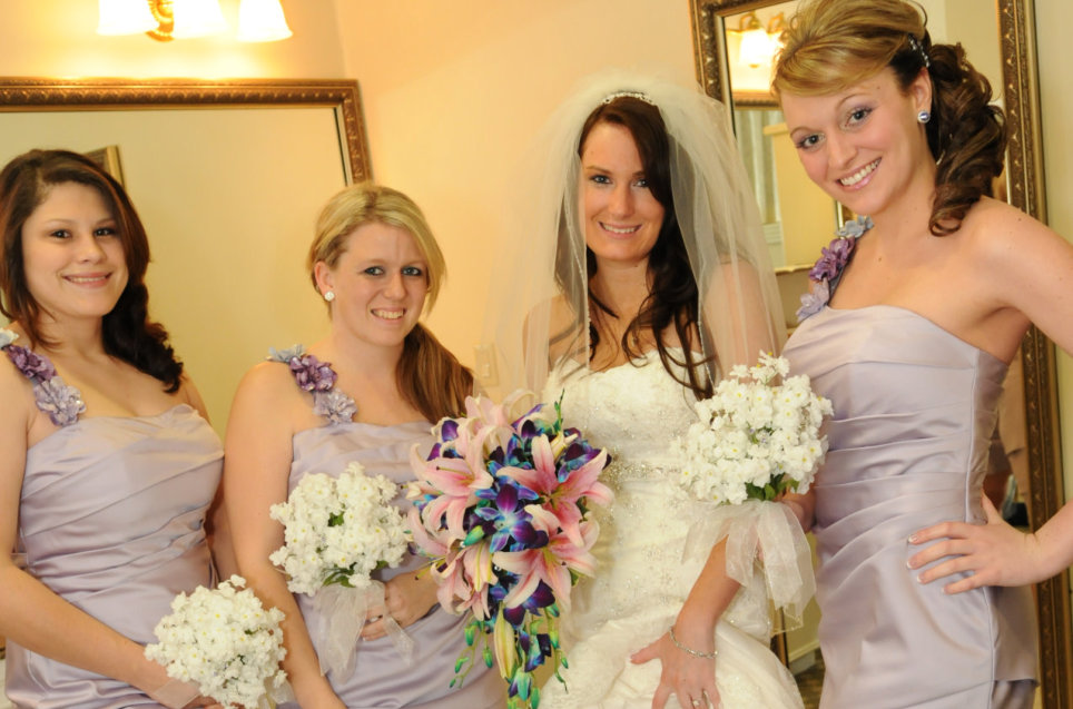 beautiful bride with her beautiful bride's maids